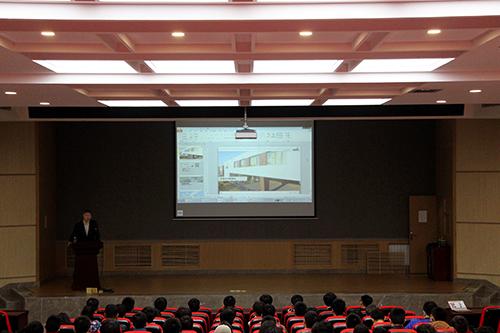会议由海蒂诗五金配件上海有限公司技术总监赵小矛主讲,林学院副教授